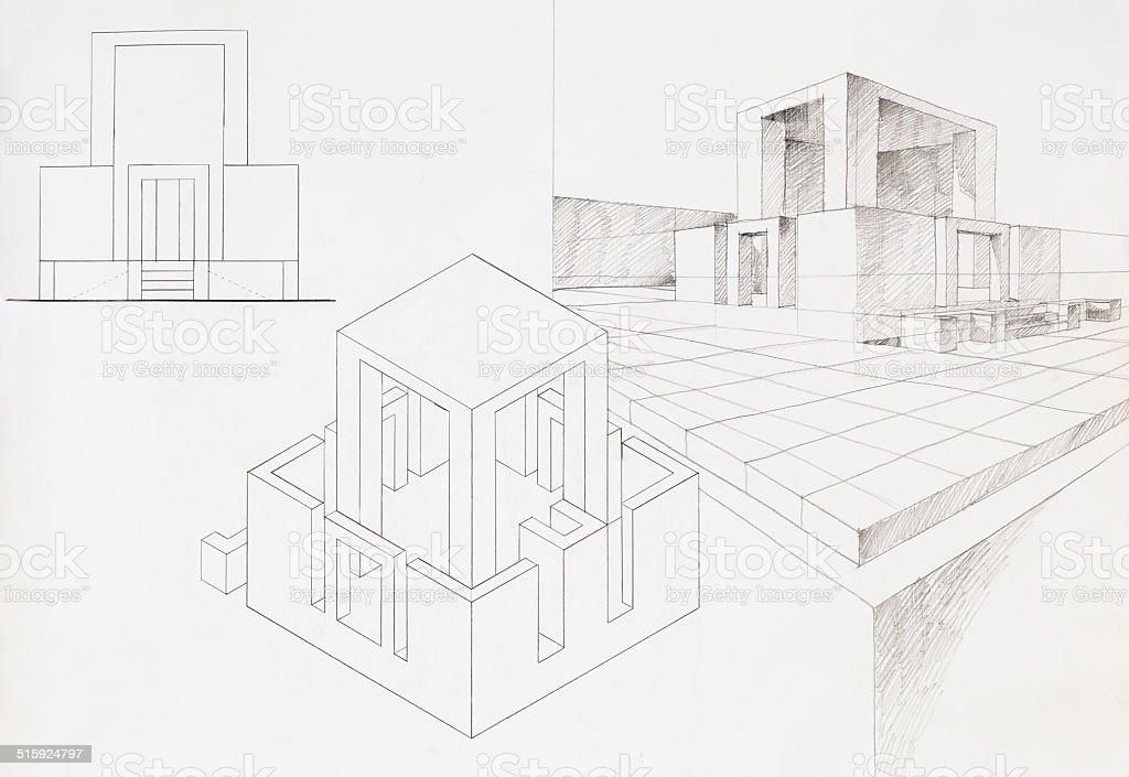 Schizzo di architettura della casa moderna immagini - Architettura casa moderna ...