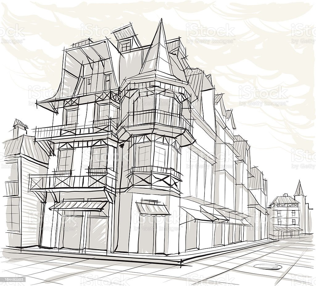 Architectural sketch. Square. street. vector art illustration