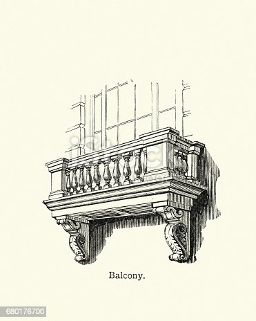 Vintage engraving of a Balcony