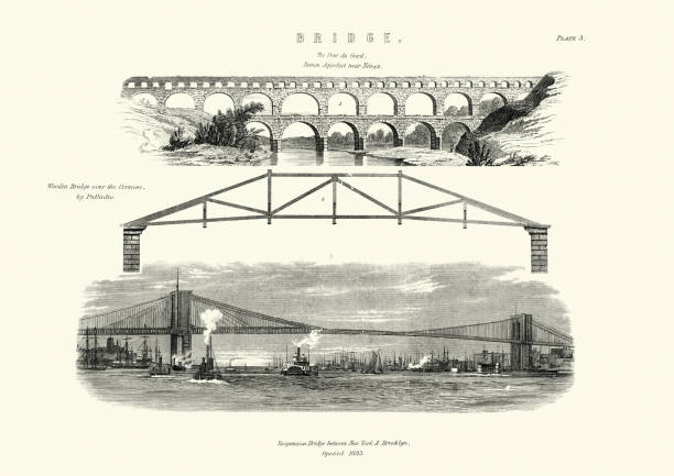 stockillustraties, clipart, cartoons en iconen met architectuur, bruggen, pont du gard nimes, brooklyn bridge, houten brug - pont du gard