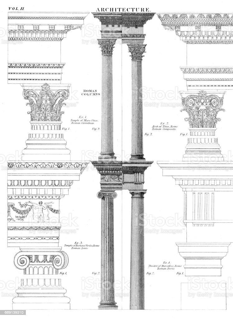 Architecture columns engraving 1878 vector art illustration