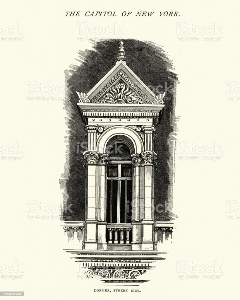 Architecture, Detail of New York State Capitol, 19th Century - Royalty-free 1870-1879 stock illustration