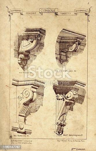 Vintage engraving of Architecture, Examples of architectural brackets, Stonework. Materiaux et Documents D'Architecture et de Sculpture, by Raguenet