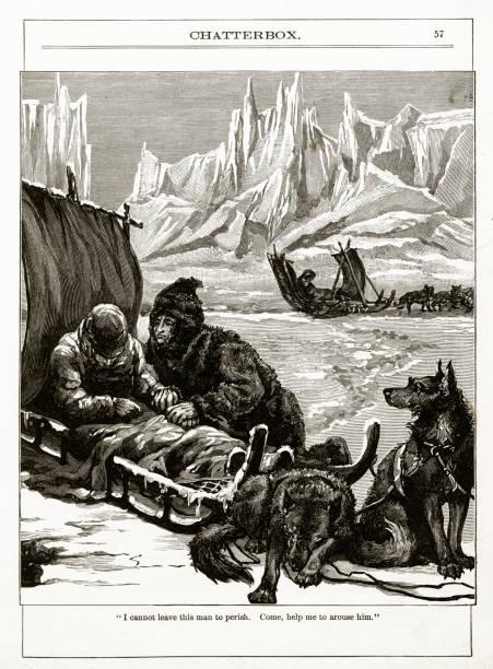 Exploradores del Ártico Victorian grabado - ilustración de arte vectorial