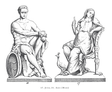 Ares (Mars), Juno, Legendary Scenes and Figures from Greek and Roman Mythology Engraving Antique Illustration, Published 1851