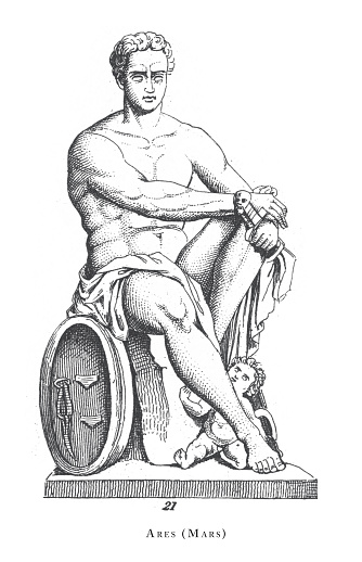 Ares (Mars), Legendary Scenes and Figures from Greek and Roman Mythology Engraving Antique Illustration, Published 1851