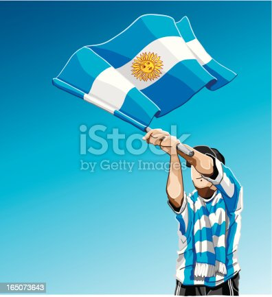 istock Argentina Waving Flag Soccer Fan 165073643