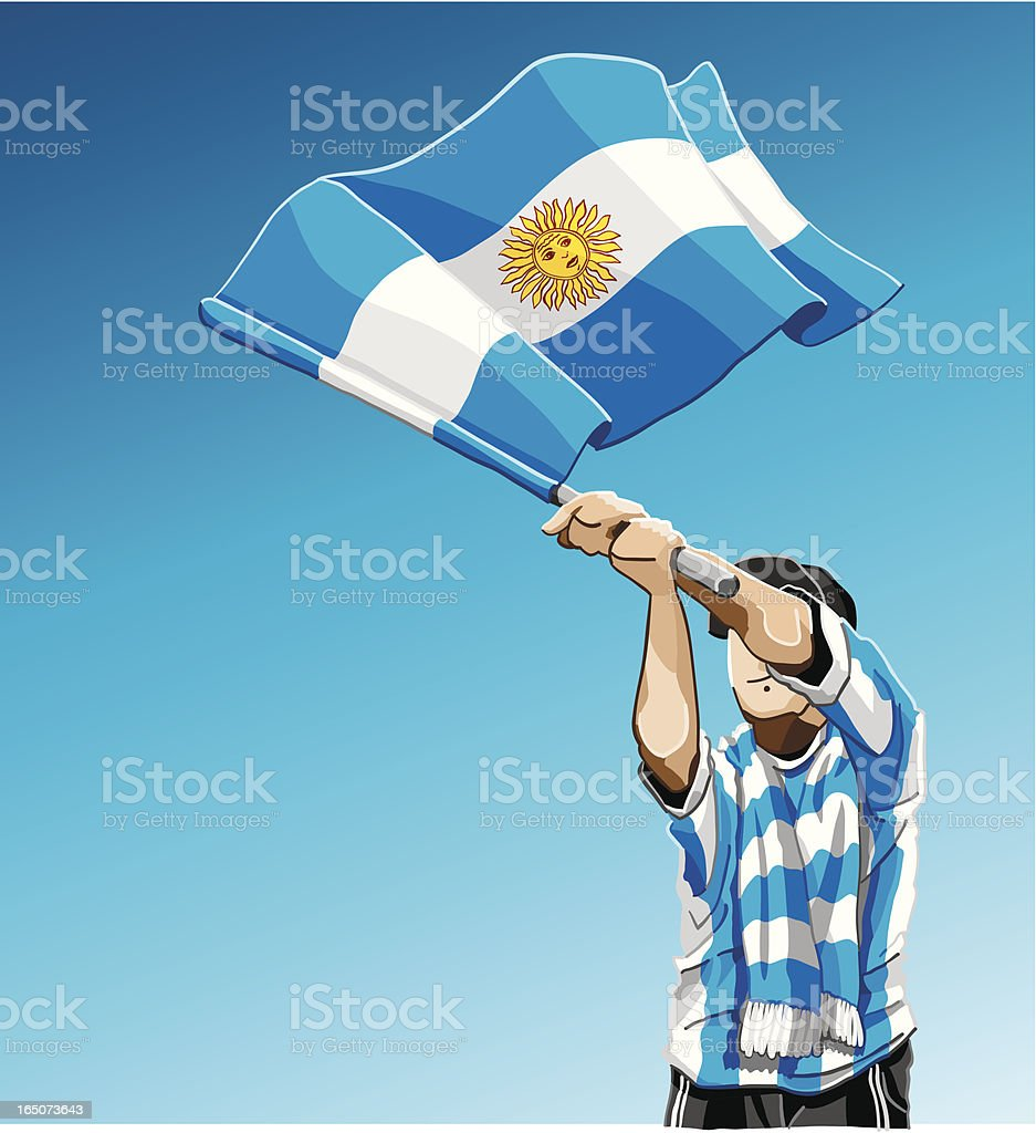 Agitando bandera de fútbol de Argentina - ilustración de arte vectorial
