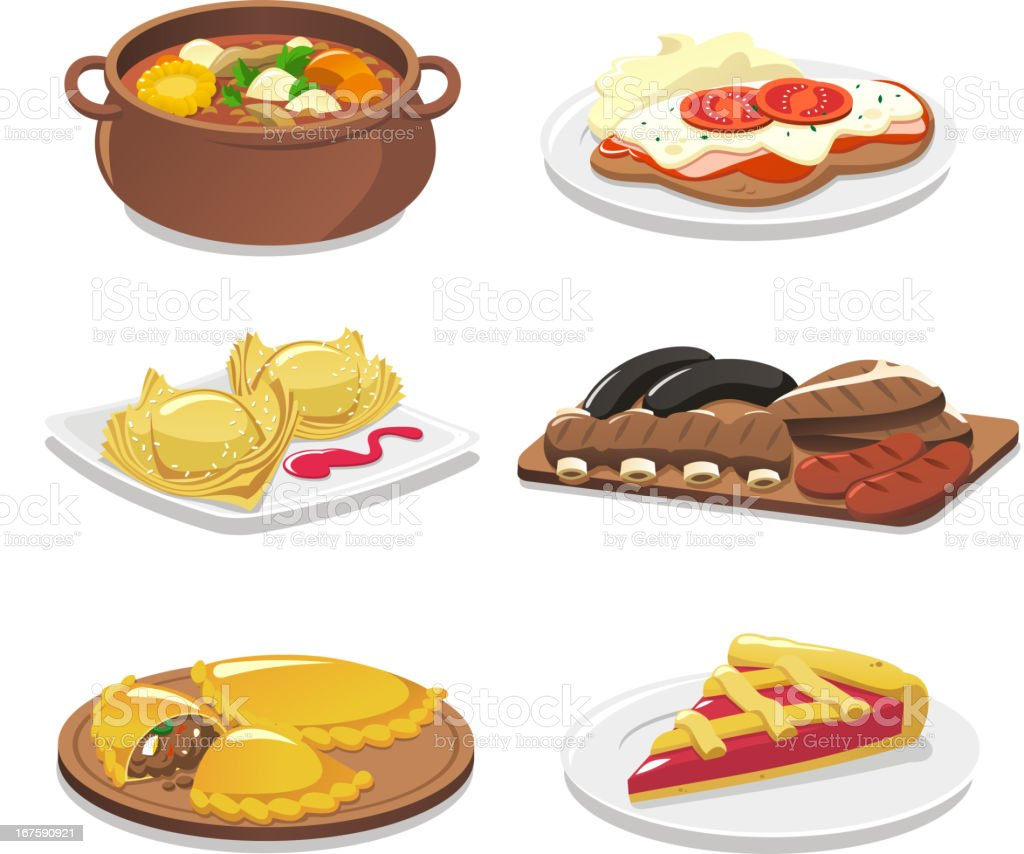 Argentine dishes stock vector art 167590921 istock for Artistic argentinean cuisine
