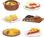 Argentine dishes vector icons set.