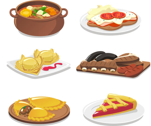 stockillustraties, clipart, cartoons en iconen met argentine dishes - meat pan