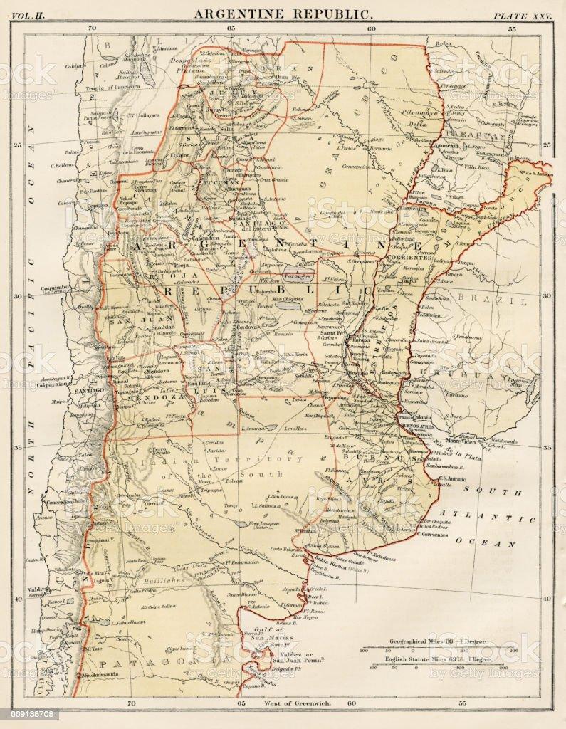 Argentine map 1878 vector art illustration