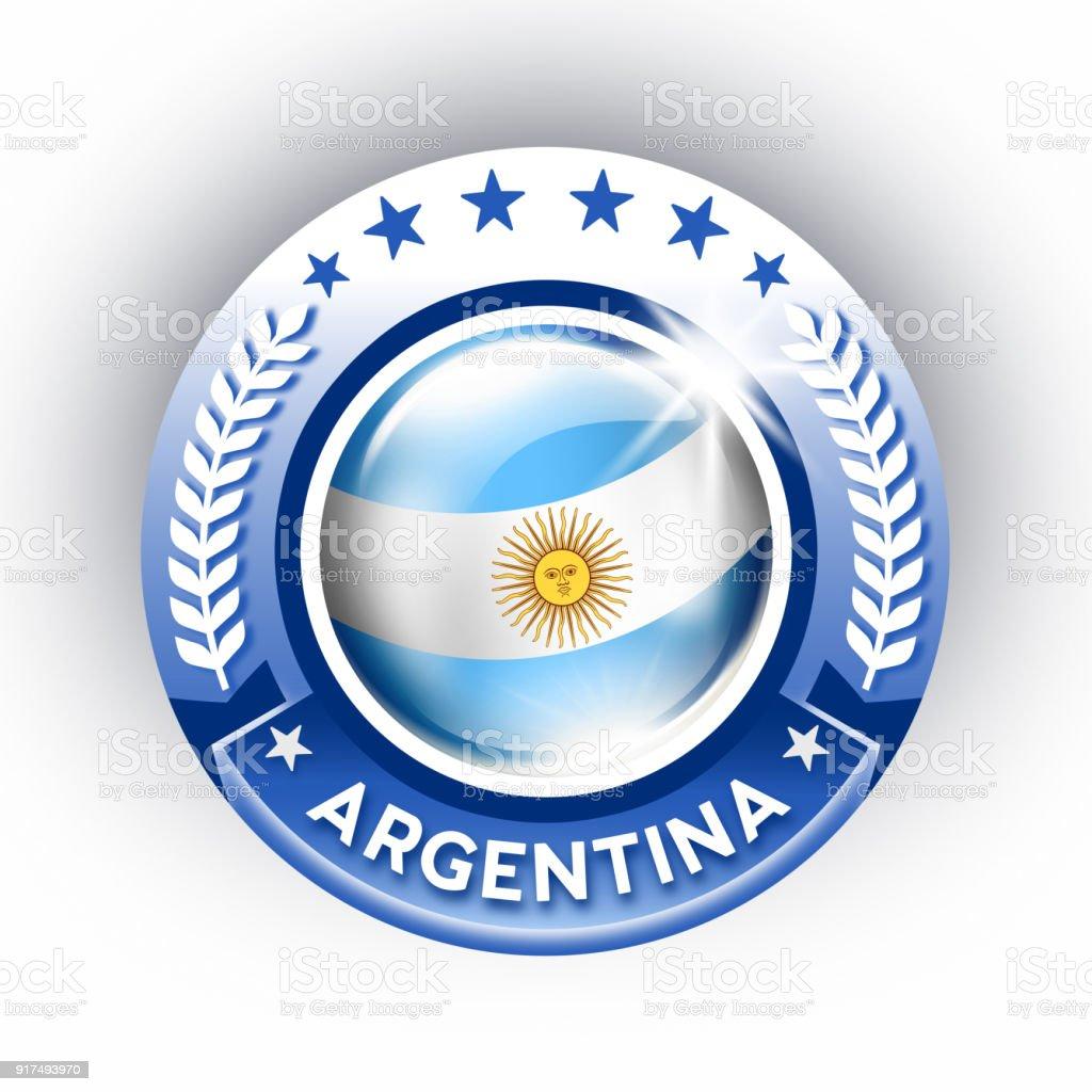 Botón de la Argentina con bandera Argentina, aislado en blanco - ilustración de arte vectorial