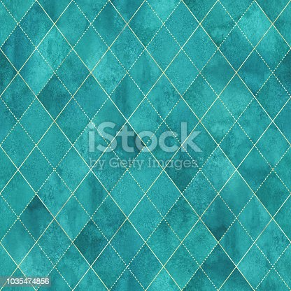 Watercolor argyle abstract geometric plaid seamless pattern with gold glitter line. Watercolour hand drawn teal turquoise color background. Luxury glittering texture. Print for textile, wallpaper, wrapping
