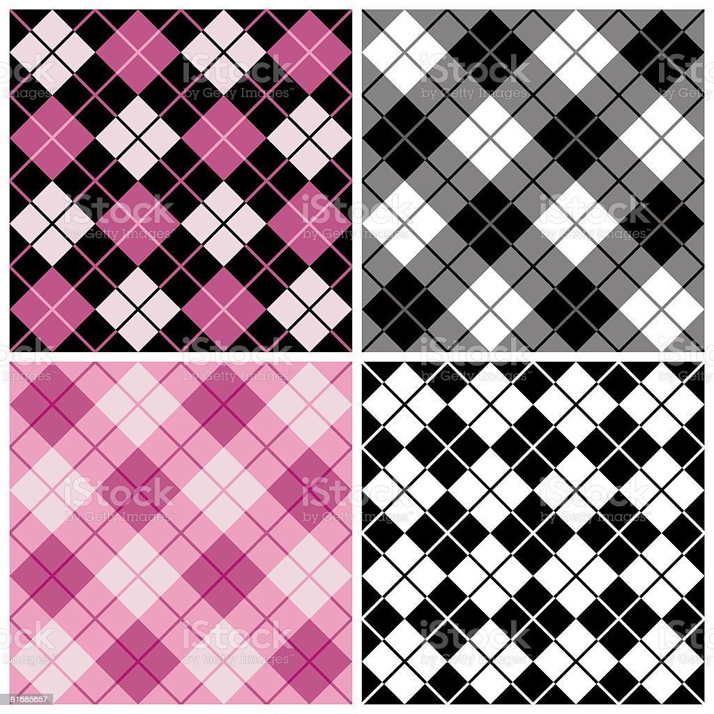 Argyle-Plaid Pattern in Black and Pinks royalty-free stock vector art