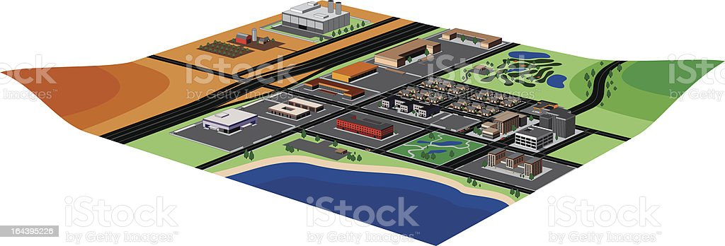 Arial View of Community royalty-free stock vector art