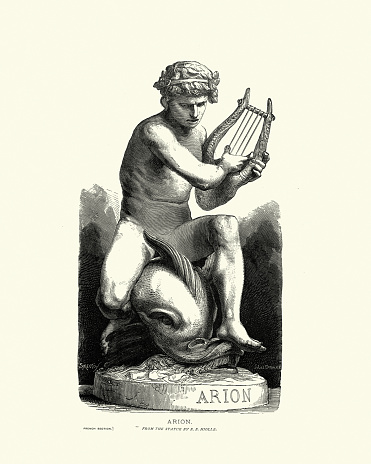 Arion, Ancient Greek poet, Sculpture by Ernest Eugene Hiolle
