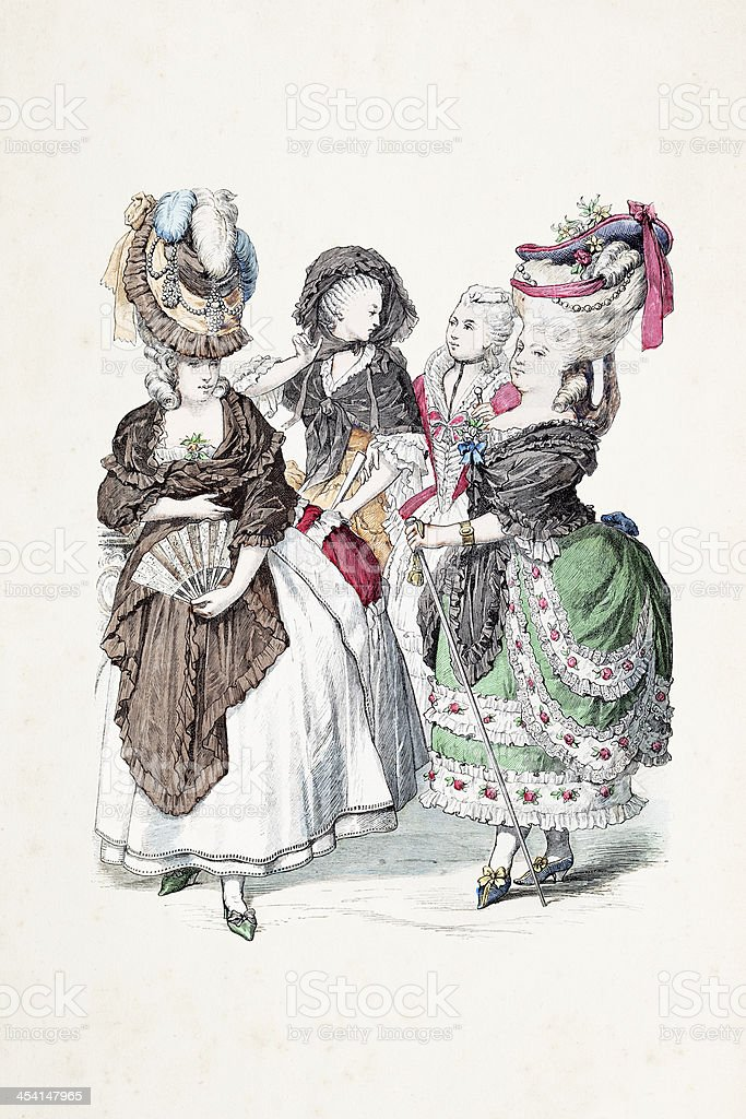 Aristocratic french women in traditional clothing from 18th century royalty-free stock vector art