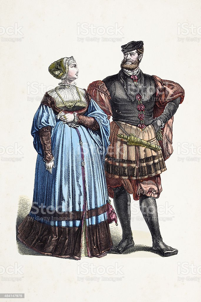 Aristocratic german couple in traditional clothing from 16th cen royalty-free aristocratic german couple in traditional clothing from 16th cen stock vector art & more images of 16th century style