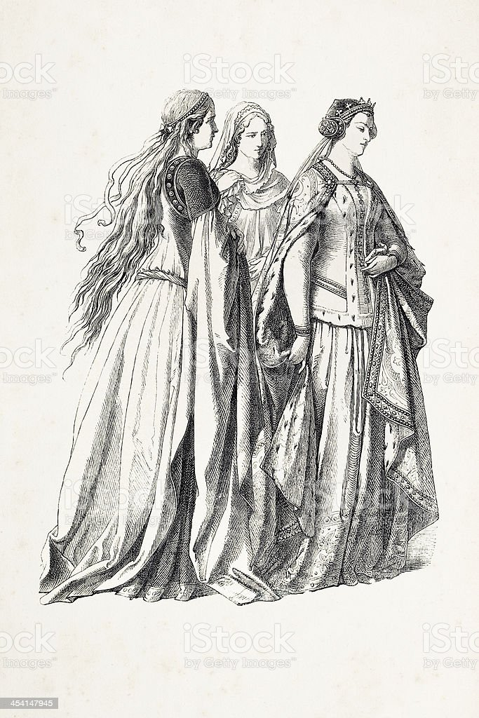 Aristocratic women with princess in traditional clothing 14th century royalty-free aristocratic women with princess in traditional clothing 14th century stock vector art & more images of 19th century