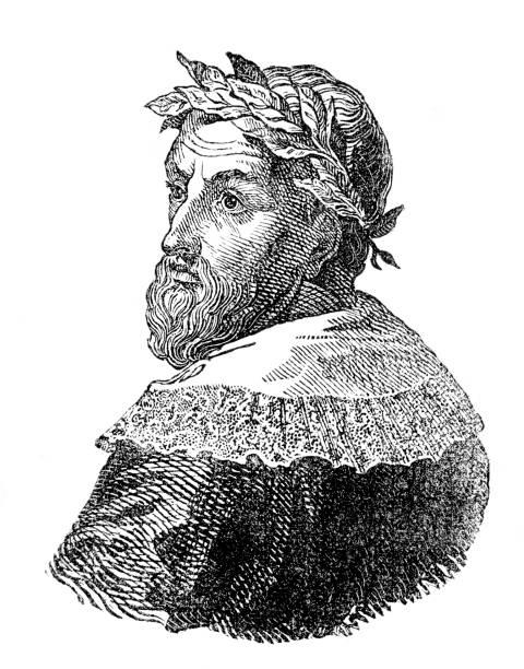 Aristotle ancient Greek philosopher and scientist portrait vector art illustration
