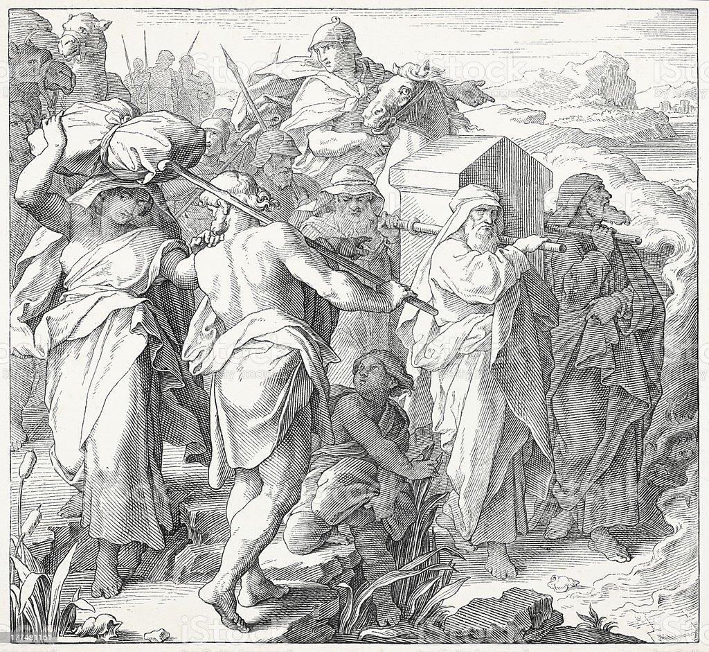 Ark of the Covenant transported by Israeli vector art illustration