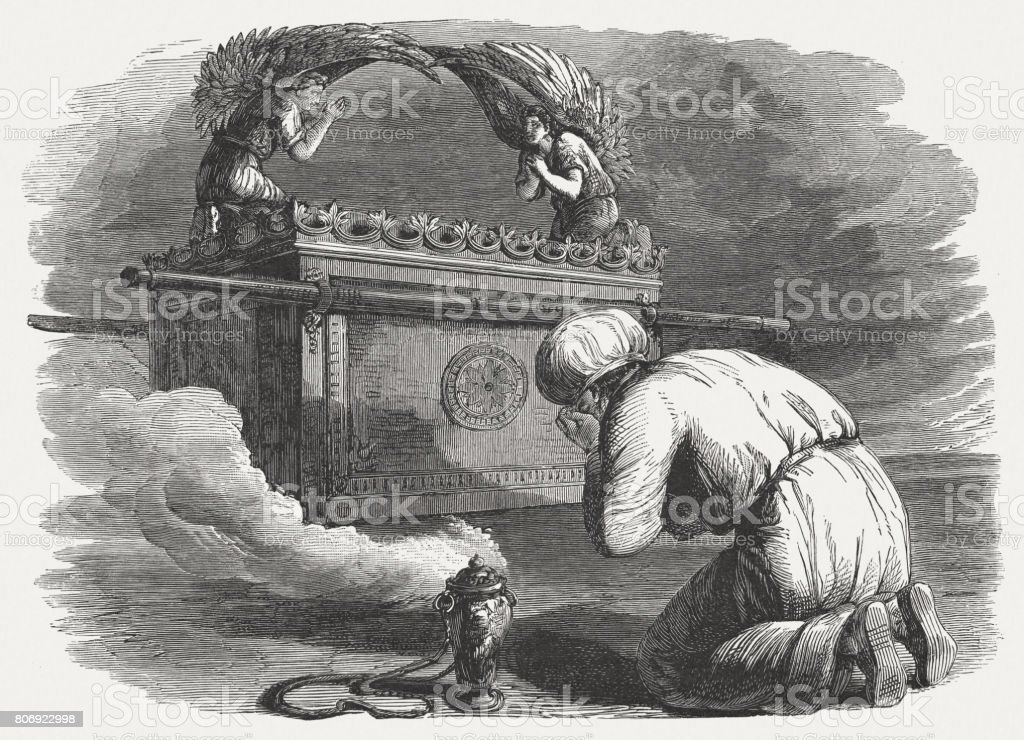 Ark of the Covenant (Exodus 39), wood engraving, published 1886 vector art illustration