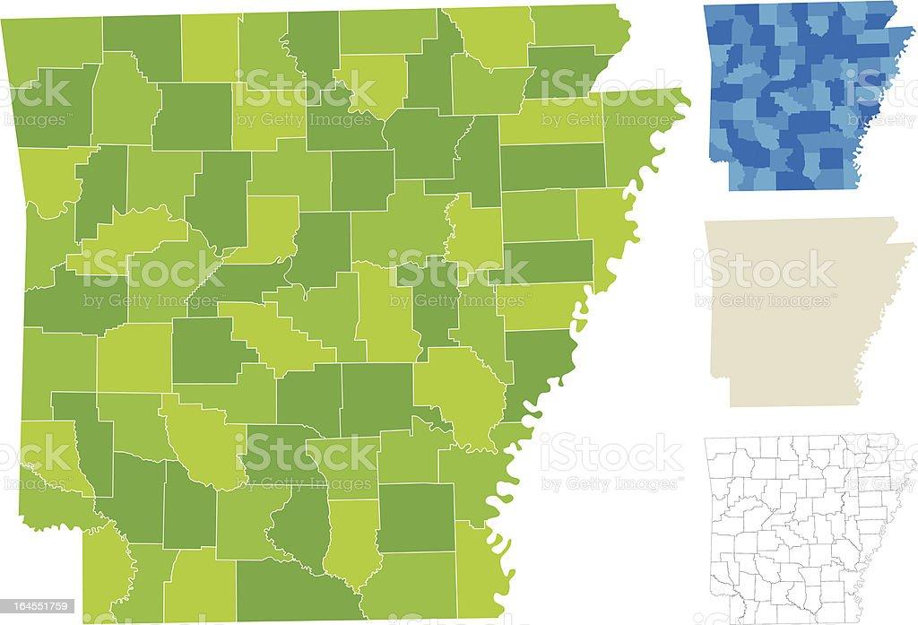 Arkansas County Map vector art illustration