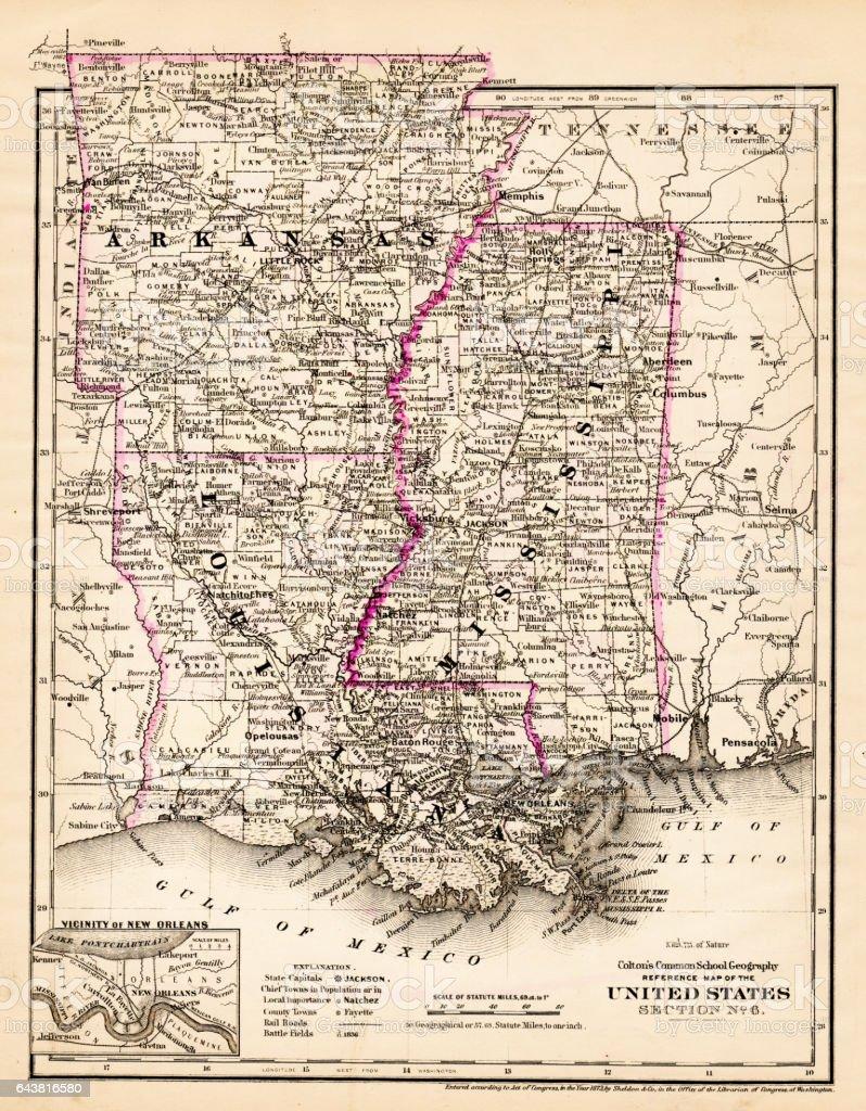 Arkansas Louisiana Pississippi Map 1881 Stock Vector Art More