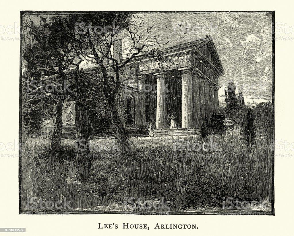 Arlington House, home of General Robert E. Lee, 19th Century vector art illustration