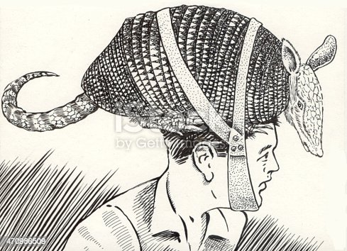 illustration of a young man wearing an armadillo as a hat, why? ...because the beaver wouldn't fit!