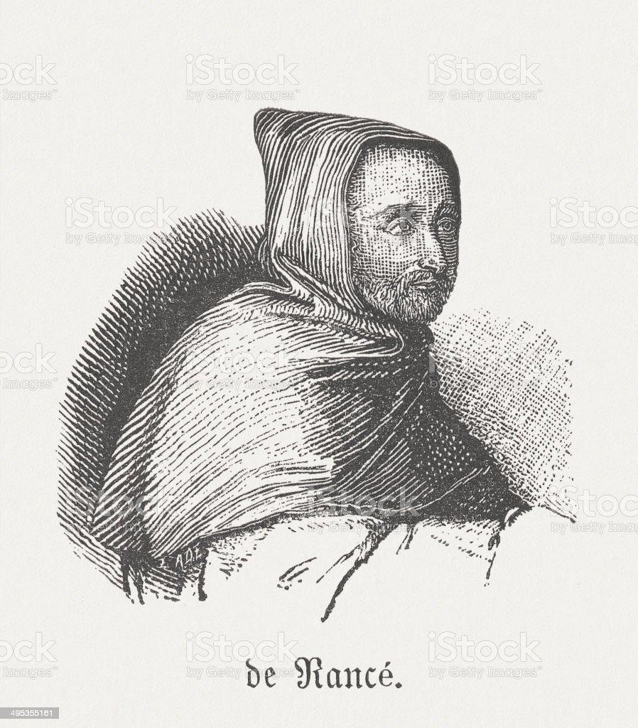 Armand Jean le Bouthillier de Rancé (1626-1700), french monk vector art illustration