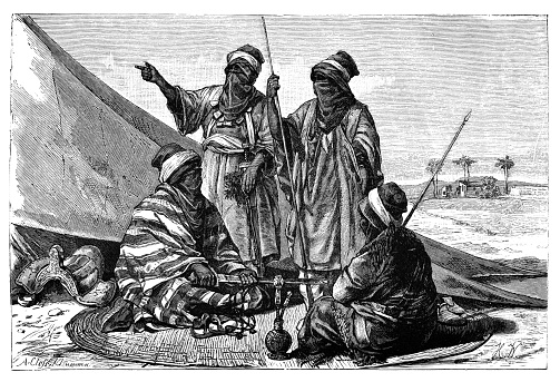 Armed Berber Tuareg Men.History and Culture of North Africa. Antique Vintage Illustration. 19th Century