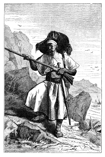 Armed Kabyle Berber Man from Today Algeria. History and Culture of North Africa. Antique Vintage Illustration. 19th Century.