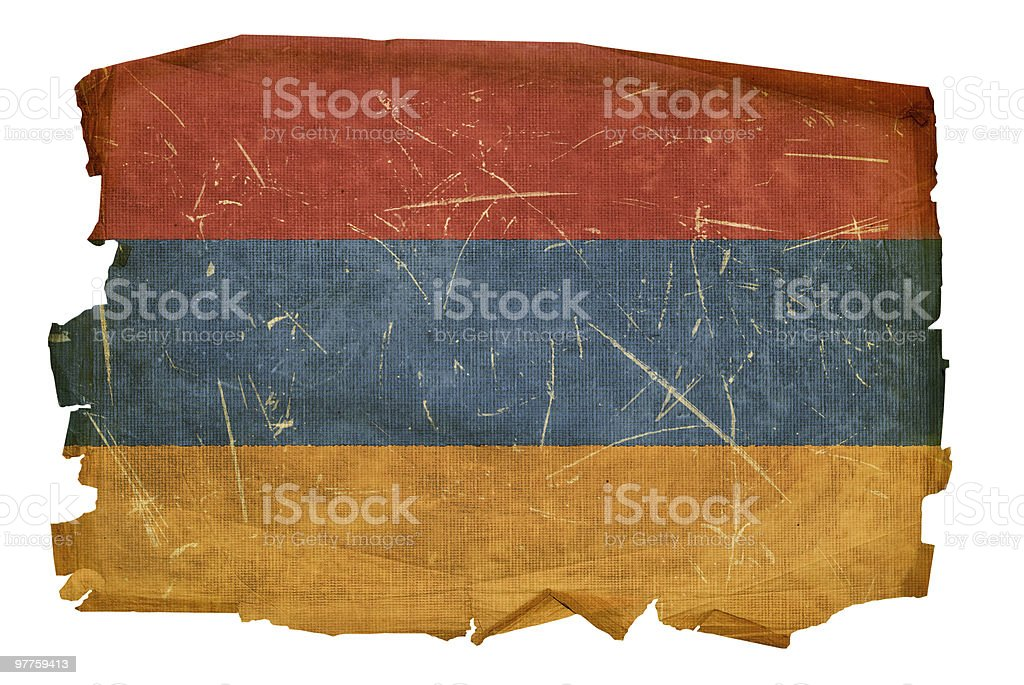 Armenia Flag old, isolated on white background. royalty-free armenia flag old isolated on white background stock vector art & more images of aging process