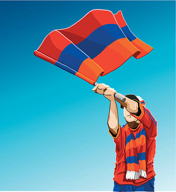 """Armenia Waving Flag Soccer Fan """"Vector Illustration of an Armenian soccer fan. The background is on a separate layer, so you can use the illustration on your own background. The colors in the .eps and .ai-files are ready for print (CMYK). Included files: EPS (v8), AI (CS2) and Hi-Res JPG."""" soccer stock illustrations"""