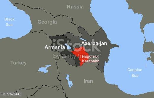 istock Armenia-Azerbaijan conflict in Nagorno-Karabakh on outline map 1277576441