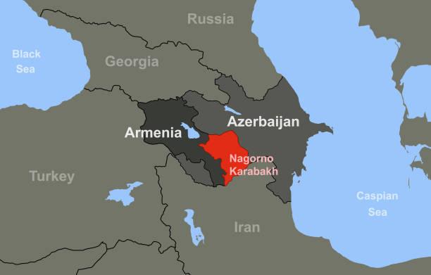 Armenia-Azerbaijan conflict in Nagorno-Karabakh on outline map Armenia-Azerbaijan conflict in Nagorno-Karabakh on outline geographic map. armenia country stock illustrations