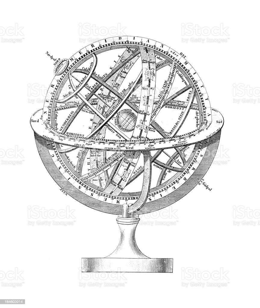 Armillary Sphere: A Scheme of Earth and the Stars royalty-free armillary sphere a scheme of earth and the stars stock vector art & more images of 19th century