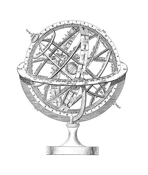 ilustrações de stock, clip art, desenhos animados e ícones de esfera armilar: um regime de terra e as estrelas - mapa das estrelas