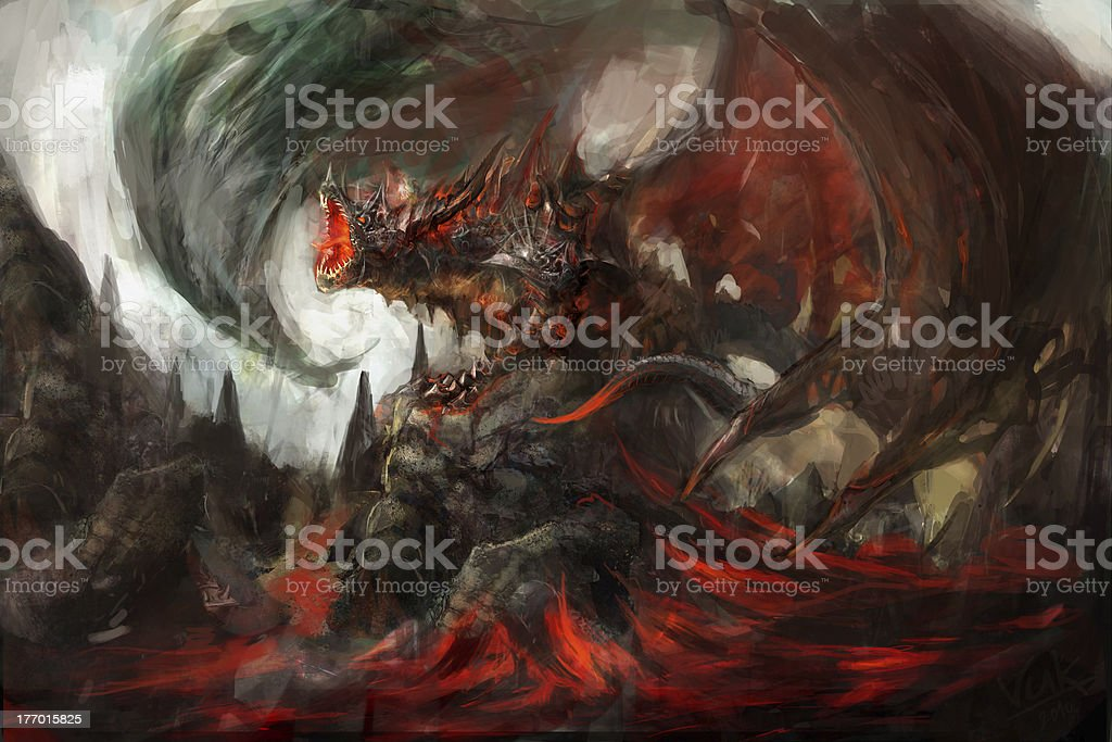 armored dragon royalty-free stock vector art
