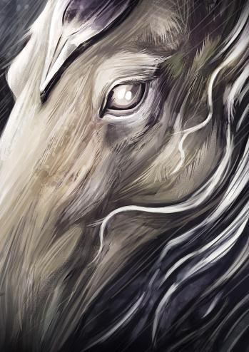 Armored Horse Head, Rainy Scenic View, Fantasy Concept