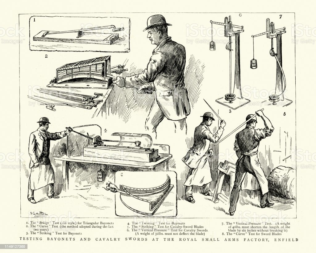 Vintage engraving of Armourers testing bayonets and cavalry swords at...