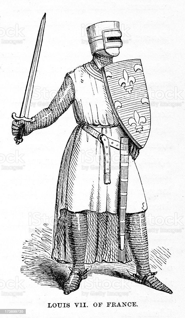 Arms and Armour of Louis VII French King vector art illustration