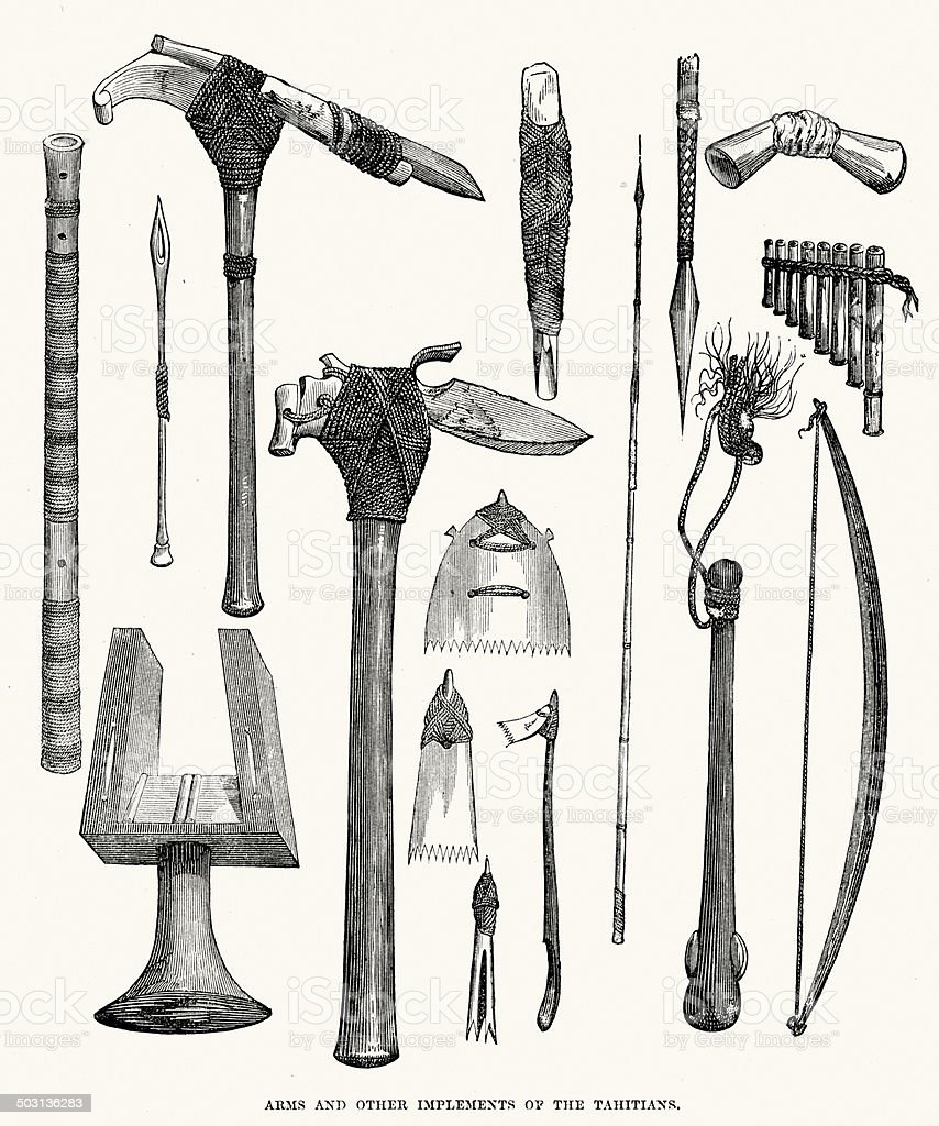 Arms and implements of the Tahitians royalty-free arms and implements of the tahitians stock vector art & more images of 19th century