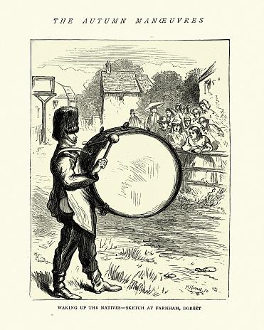 Army drummer, with a bass drum, Farnham Doset 19th Century