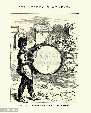 Vintage engraving of a British Army drummer, with a bass drum, Farnham Doset, 19th Century. Waking up the natives, Autumn manoeuvres of 1872