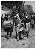 Army Marching Band - Scanned 1881 Engraving
