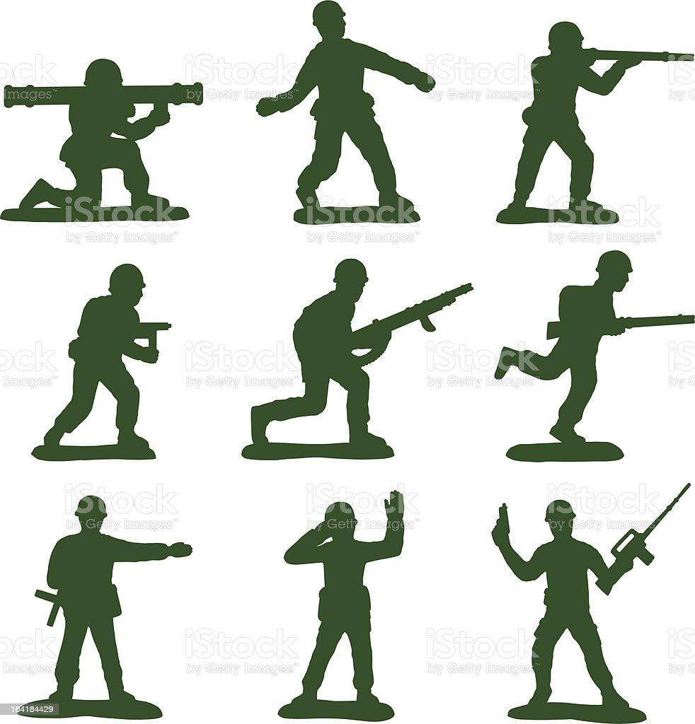 Army Men (Full Set of 9) vector art illustration