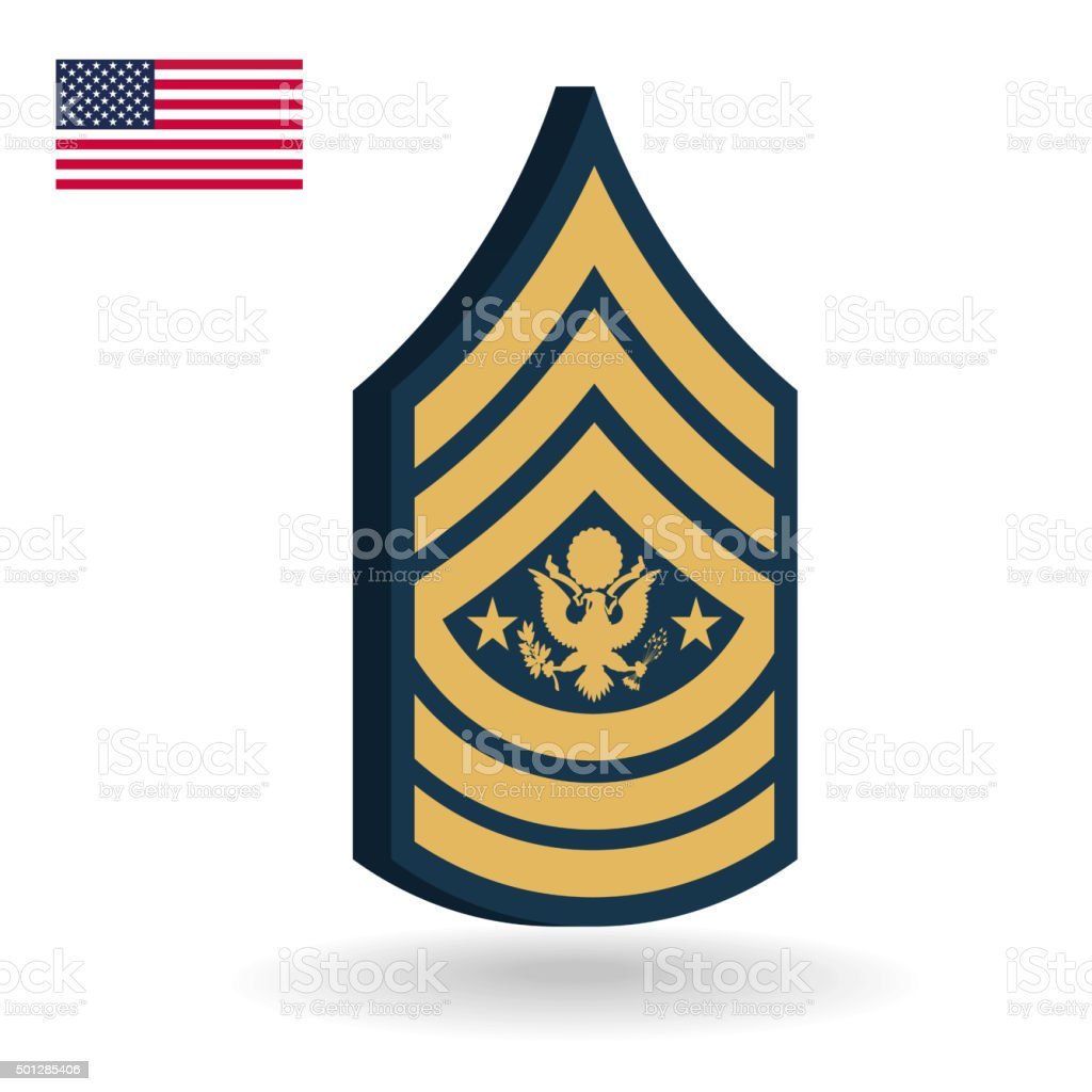 Army Sergeant Major Of The Army Rank 3d Stock Illustration